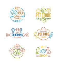 pet shop badges or labels color line art set vector image