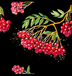 seamless background with rowanberry branch vector image vector image