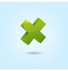 Green X mark symbol isolated on blue background vector image vector image