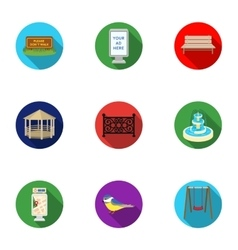Park set icons in flat style Big collection of vector image vector image