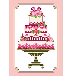 Cake with roses vector