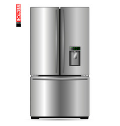 large double-wing refrigerator with metal coating vector image