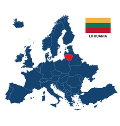 map of europe with highlighted lithuania vector image vector image