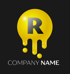 r letter splash logo yellow dots and bubbles vector image vector image