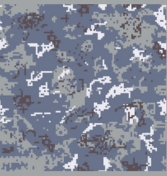 Seamless gray camouflage of pixel pattern vector
