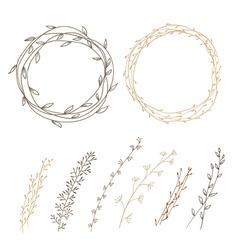 Set of decorative doodle wreaths vector