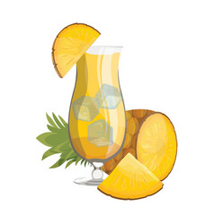 a glass fresh pineapple juice vitamin vector image