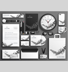 abstract black and white business stationery set vector image