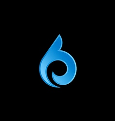 Abstract unusual sign curl water logo vector