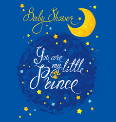 Baby shower with moon and stars on blue grunge vector