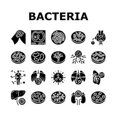 Bacteria infection collection icons set vector