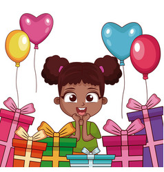 Birthday girl with gifts and balloons vector