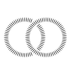 Black concentric shapes that makes a two vector