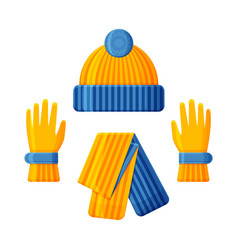 blue yellow hat with scarf and gloves set winter vector image