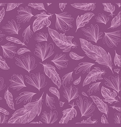 boho style feather and flower pattern vector image