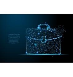 Briefcase low poly blue vector