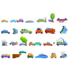 Car accident icons set cartoon style vector
