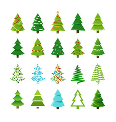 cartoon abstract christmas trees with gifts and vector image