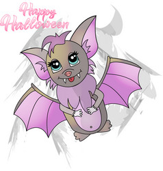 cartoon bright cute bat for halloween vector image