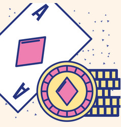 Casino ace card chips fortune game image vector