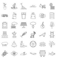 Catastrophe icons set outline style vector