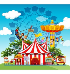 Children and people at the amusement park vector