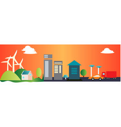 city landscape with windmills in background vector image