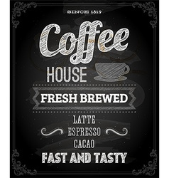 Coffee Poster on Chalk Board Design vector