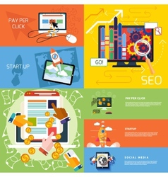 Concept start up pay per click seo vector