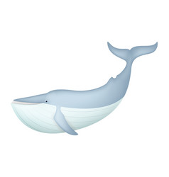 cute blue whale isolated on white vector image