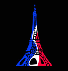 eiffel tower in colors flag france in vector image