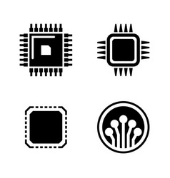 electronic microchip simple related icons vector image