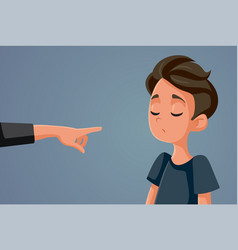 Finger pointing at young teen boy vector