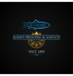 Fish Logo Seafood Label Vintage Design Background vector image