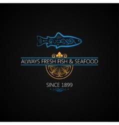 Fish logo seafood label vintage design background vector