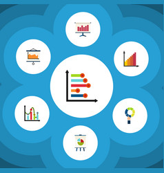 flat icon diagram set of chart pie bar vector image