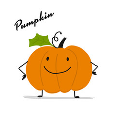 funny smiling pumpkin character for your design vector image