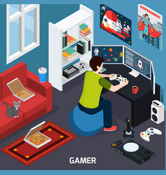 Gamer isometric composition vector