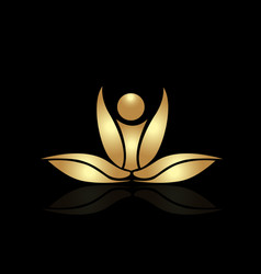 Gold lotus plant spa meditation icon vector