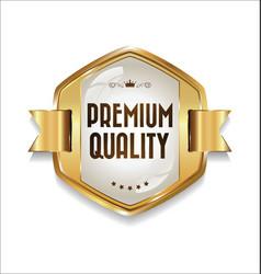 Golden retro premium quality badge 2 vector