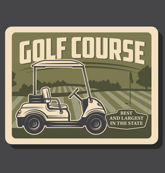 Golf sport green course flag hole and cart vector