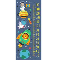growth measure with space animals vector image