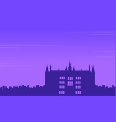 guidhall london at night landscape silhouettes vector image vector image