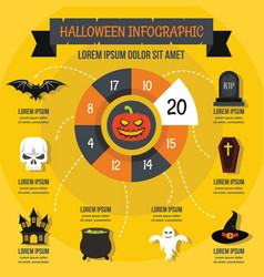 Halloween infographic concept flat style vector
