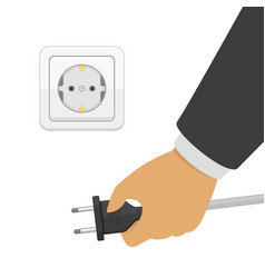 Hand disconnecting electric plug vector