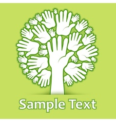 Hands of tree on green vector