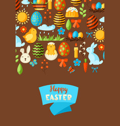 happy easter greeting card with holiday items vector image
