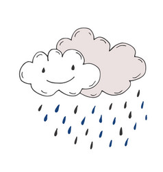 happy rainy clouds doodle sticker vector image