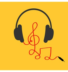 Headphones with treble clef note red cord music vector
