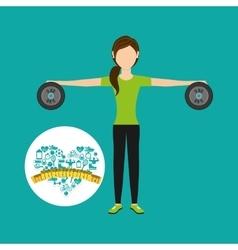 Heart weight loss sport woman barbell vector
